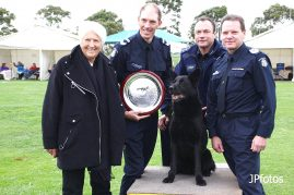 Dawn Fraser, Snr Cst. Cail Tuckerman, Angel, Insp. Nigel McGuirWhite and Snr Sgt Shaun McGovern